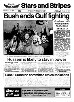 Image result for president h w bush announced the persian gulf  has ended